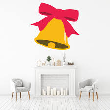 Gold Bell Red Bow Wall Decal Sticker Ws 46578 Ebay