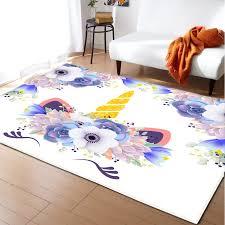 Cartoon Unicorn Carpet Kids Room Bedroom Decoration Mat Area Rug Anti Slip Flannel Girls Play Big Carpets For Home Living Room Carpet Aliexpress
