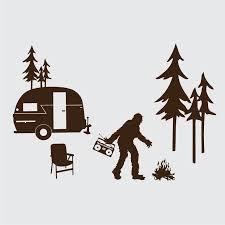 Happy Sasquatch Camper Laptop Or Wall Decal Kit Via Etsy Vinyl Wall Decals Sasquatch Bigfoot Art