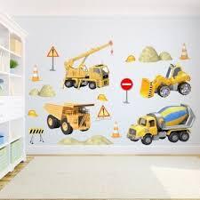3d Construction Wall Decals Kid S Room Wall Stickers Kids Room Wall Decals Kids Room Wall Art Wall Kids