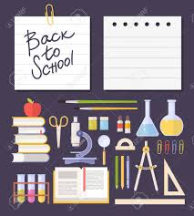 Set School Items, Supplies: Schoolbook, Microscope, Chemical ...