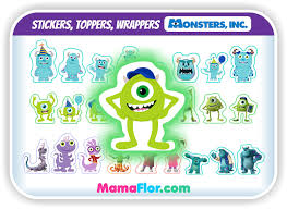 Monsters Inc Stickers Toppers Wrappers De Mike Wazowski Para