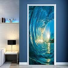 Amazon Com Bcdshop 3d Wall Stickers 3d Wall Murals Nature Ocean Beach Door Wall Decals Stickers Decor Diy Art Removable E