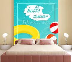 Hello Summer Isometric Pool Float Beach Ball Vector Wall Mural Wallpaper Murals Sarawut St