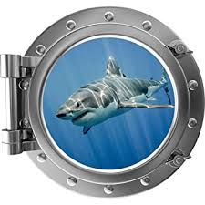 Amazon Com 12 Port Scape Shark 4 Porthole Silver 3d Window Wall Decal Jaws Great White Megalodon Instant Under The Sea Water Ocean Fish Childrens Wall Art Kids Room Nursery Decor Removable Fabric