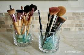 glass makeup brush holder with lid
