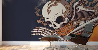 Horror Themed Art Skeleton With Fire Smithson