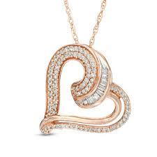 round diamond tilted heart pendant