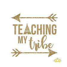 Amazon Com Teaching My Tribe Vinyl Decal Teacher Sticker For Yeti Tumbler Rtic Cup Water Bottle Laptop Car Window Accessories Teacher Appreciation Gift Gold Glitter 3 5 Inches Handmade