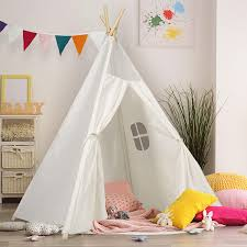 Amazon Com Kids Teepee Tent Children Play Tent 5 Ft Raw White Cotton Canvas Four Wooden Poles Water Resistant Mat Banner Carry Case Indoor Outdoor Playhouse For Girls And Boys Childrens Room Decor