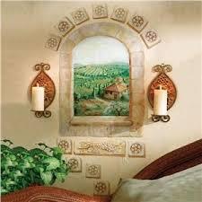 Wallies Tuscan Window Wall Mural Decorative Accents Lillian Vernon Window Mural Tuscan Decorating Brick Wall Decor