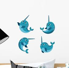 Happy Smiling Narwhal Funny Wall Decal Sticker Set Wallmonkeys Com