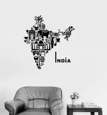 Vinyl Decal India Map Hindu Hinduism Elephant Symbols Decor Wall Stickers Unique Gift Ig2722 Indian Wall Art Exterior Wall Art Wall Stickers Unique
