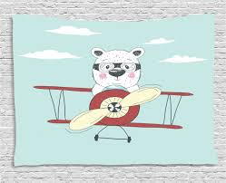 Kids Boys Tapestry Hand Drawn Pilot Bear Flying A Plane In Open Sky Funny Childish Cartoon Wall Hanging For Bedroom Living Room Dorm Decor 60w X 40l Inches Cream Pale Blue Ruby