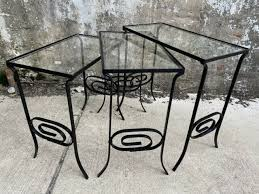 wrought iron nesting side tables