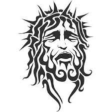 Religious Jesus Head With Thorn Crown Tribal Art Design Car Decal Sticker Ebay