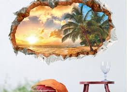 3d Window Sunset Relaxed Beach View Decal Wall Sticker Home Decor Art Mural Bascovanity Com