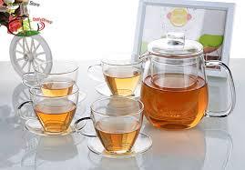 heat resistant handmade clear glass tea