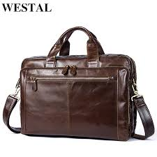 briefcase male genuine leather men bags