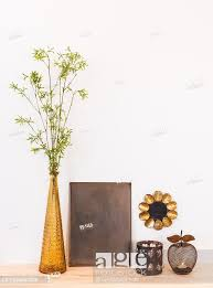 metal frame with copy space glass vase
