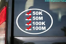 Ultra Runner S List Vinyl Decal Sticker 6 5 X 4 5 50k 50m 100k 100m White W Red Checkmarks Minglewood Trading