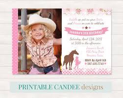 Pink Shabby Cowgirl Birthday Invitation Shabby Horse Invitation