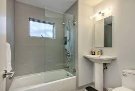 half glass door midcentury bathroom