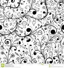 black white fl seamless pattern