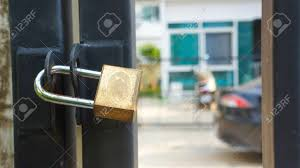 Master Key Lock On Gate And Door Of Fence Stock Photo Picture And Royalty Free Image Image 97420100