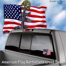 Patriotic American Flag Battlefield Cross Vinyl Decal Window Etsy