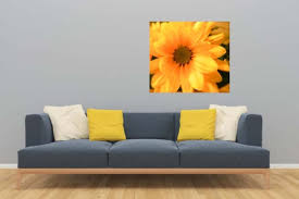 Daisy Wall Decal Floral Wall Decal Yellow Floral Wall Mural Etsy