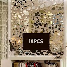 Amazon Com Ttsam 18pcs Silver Mirror Decals Acrylic Cobblestone Shape Wall Stickers Not A Real Mirror Cobblestone Shape Diy Decor For Home Room Bedroom Office Decoration Silver Mirror Furniture Decor