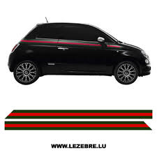 Fiat 500 Side Stripes Gucci Style Sticker Set