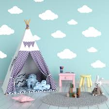 Fluffy Cloud Wall Stencil For Baby S Nursery Or Kids Bedroom Painting Decoration Ebay