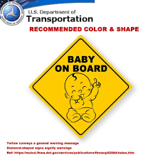 Baby On Board Sticker Sign 3 Pack Baby Board Baby Car Sticker Baby Car Decal Baby Announcement Board Us Department Of Transportation Recommend Colour Shape Kid Safety 5 By5 By Innovative Bay By
