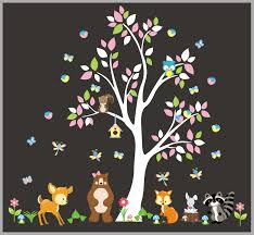 Woodland Nursery Wall Decal Forest Wall Decals Nursery Baby Nurserydecals4you