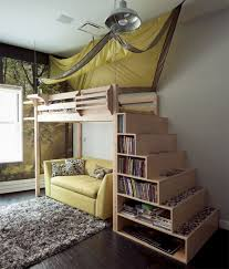 Wooden Bunk Bed Wooden Bookshelves Yellow Sofa Yellow Canopy Also Grey Rug Yellow Sofa Hupehome
