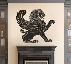 Ik2384 Wall Decal Sticker Antique Lion With Wings Living Room Bedroom Stickersforlife