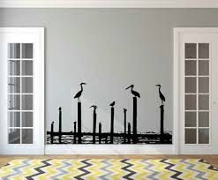 Rosecliff Heights Aster Seaside Pelicans On Posts Vinyl Graphic Wall Decal Wayfair