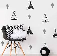 Amazon Com Aisufen 18 X Teepee Tipi Tent Cactus Kids Bedroom Wall Sticker Nursery Wall Art Decal Tribal Tents Stickers Nordic Vinyl Decor Kitchen Dining