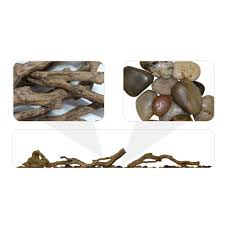 linear driftwood and river rock