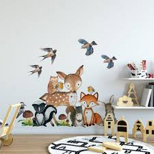 Woodland Nursery Animals Wall Decor Fox Owl Deer Bunny Squirrel Birds Wall Decal Motomoms Decor