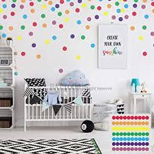 Amazon Com Battoo Easy Peel Stick 2 70 Pcs Rainbow Polka Dots Wall Decals Peel And Stick Decals Confetti Decals Rainbow Color Polka Dot Pack Includes All 7 Colors Furniture Decor
