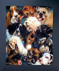 Collage Of Dogs Breeds Cute Animal Kids Room Wall Decor Espresso Framed Art Print Picture 20x24 Impact Posters Gallery