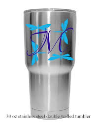 Amazon Com Monogram Letter Dragonfly Background Decal Choose Colors Size And Letter For Car Windows Yeti Cups Water Bottle Etc Metallic And Glitter Vinyl Handmade