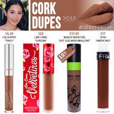 colors cork liquid lipstick dupes