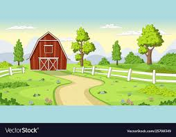 Red Farm With Fence Royalty Free Vector Image Vectorstock