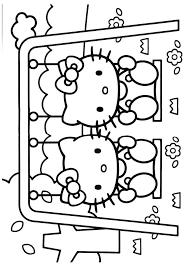 Hello Kitty Op De Schommel Hello Kitty Kleurplaten Kleurplaat Com
