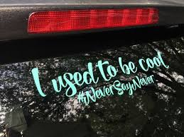 Van Decal I Used To Be Cool Never Say Never Window Decal Van 7 Color Choices Funny Decal Mom Funny Vinyl Decals Vans Stickers Cool Bumper Stickers