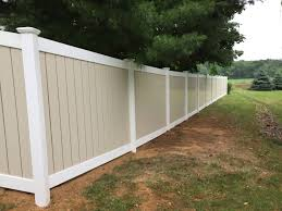 Beautiful Fence Installation Job In Schnecksville Of Semi Privacy Vinyl Fence In 2 Tone Tan White By Ryan Hi Vinyl Fence White Vinyl Fence Building A Fence